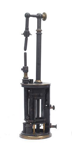 A part weight-driven clockwork arc lamp  by E. Ducretet, Paris,