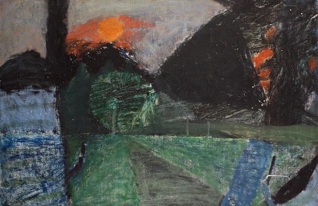 Peter Potworowski (Polish, 1898-1962) Sunset with black trees