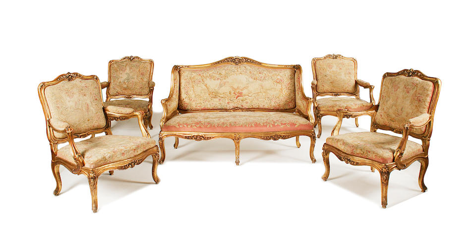 A good French late 19th century giltwood salon suite
