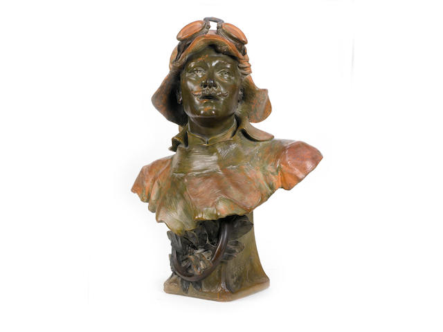 A fine 'Motorist' terracotta bust, by A Bruyas, French, c1905,