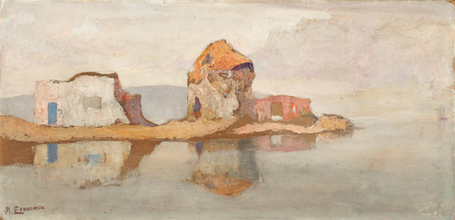 Michalis Economou (Greek, 1888-1933) Old mill and houses 29.5 x 60 cm.
