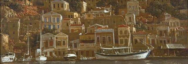 Michalis Georgas (Greek, born 1947) View of Symi 24.5 x 67.5 cm.