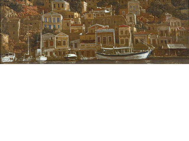Michalis Georgas (Greek, born 1947) View of Symi 24.5 x 67.5 cm.