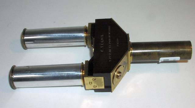 A rare C Verick monocular/binocular microscope adapter,  French,  circa 1900,