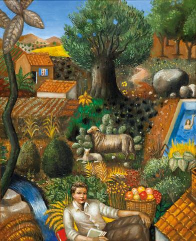 Theodoros Manolidis (Greek, born 1940) In the countryside 55 x 45 cm.