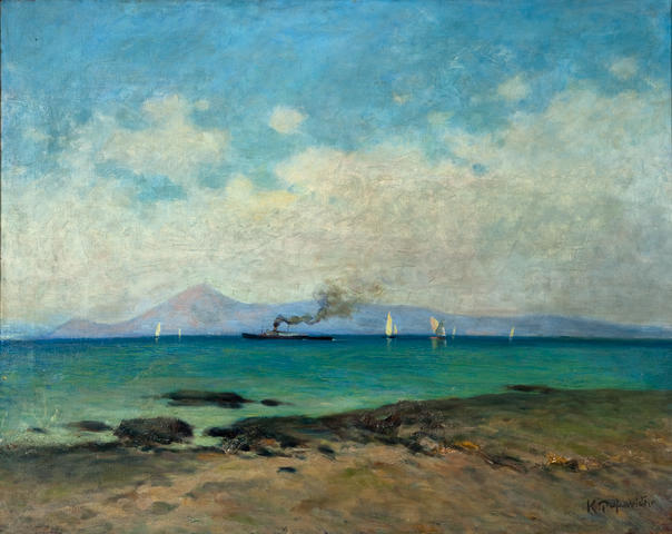 Konstantin Romanides (Greek, 1884-1972) View of Faliro 76 x 94 cm.