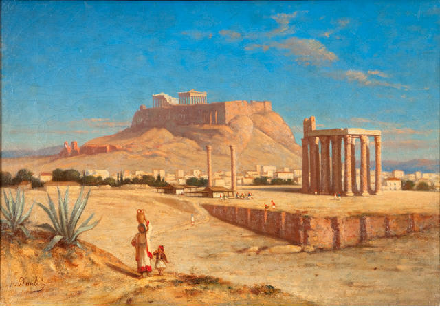 Hippolyte Plantet (1829-1882) View of the Acropolis with the Temple of Olympeus Zeus 39 x 55 cm.