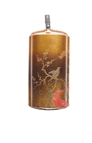 A gold lacquer five-case inro By Inagawa Nakaharu, 19th century