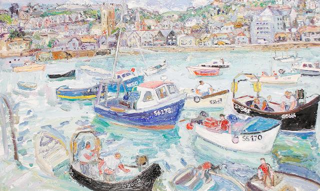 Linda Weir (British, born 1951) 'Blow away summer, mending boats St Ives'