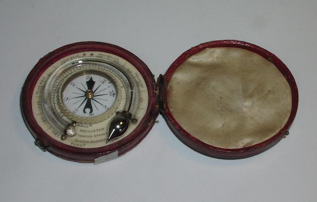 A James Houliston ivory pocket thermometer and compass, English, mid 19th century,