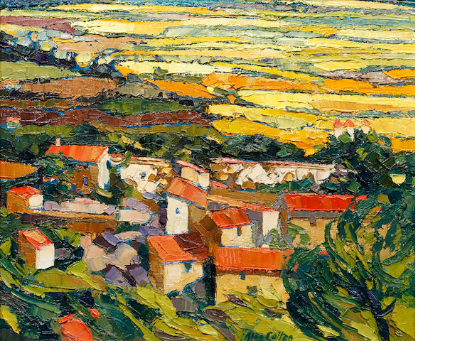 Alan Cotton (British, born 1936) Across the Provence Plain from Gordes