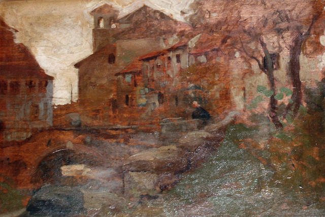 William Lee-Hankey (British, 1869-1952) Continental village scene