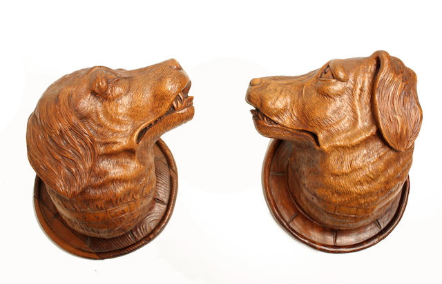 A pair of 20th century Black Forest style dogs