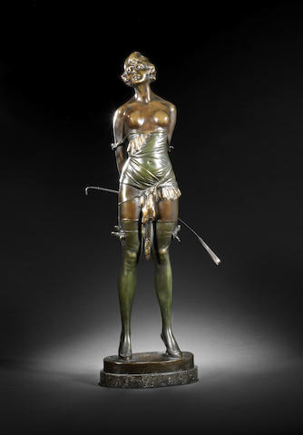 Bruno Zach 'The Riding Crop' a Large and Impressive Patinated Bronze Female, circa 1925