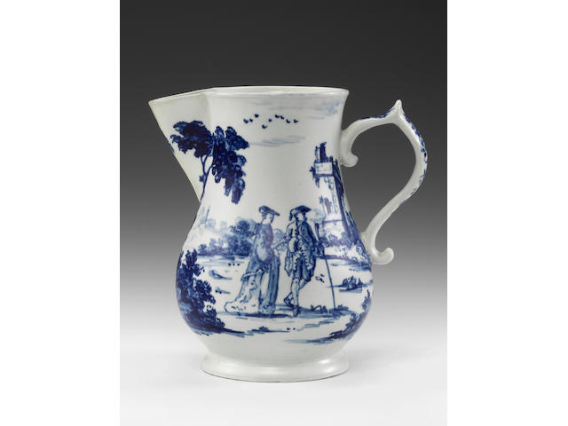 Vauxhall armorial jug (spout chip, haircrack)