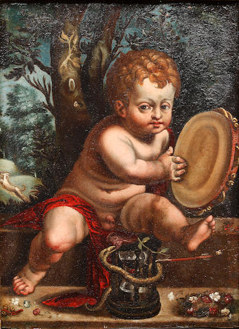 Italian School (late 17th/early 18th Century) A putto with tambourine