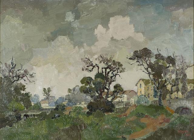 Gregoire Johannes Boonzaier (South African, 1909-2005) 'Approaching rain, Mowbray, Cape'
