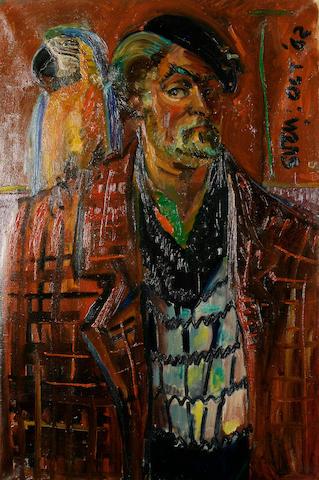Sven Berlin (British, 1911-1999) 'Macaw with Sven'
