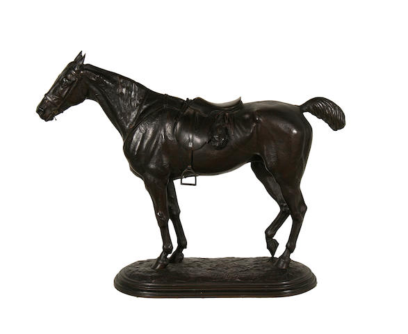 John Willis Good, British (1845-1879)  A bronze model entitled 'The Tired Hunter'