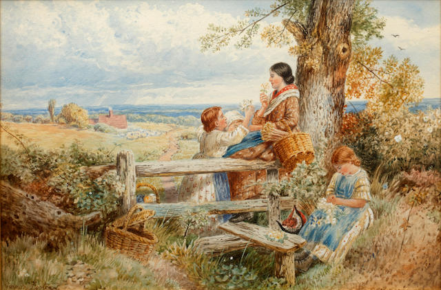Vernon Foster Woman and girls picking wildflowers by a stile, and companion