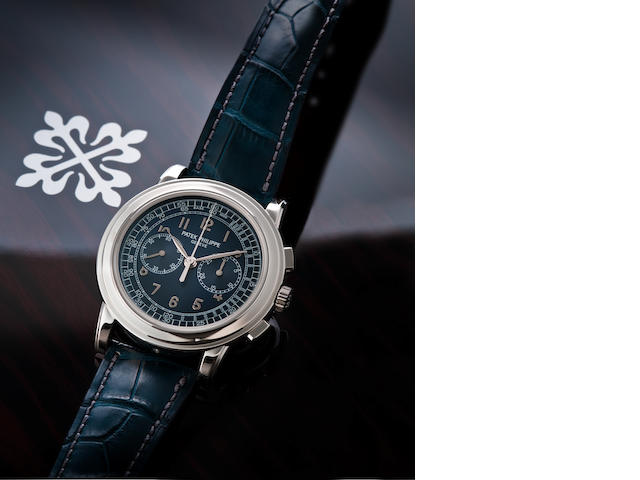Patek Philippe. A very fine PT950 platinum manual wind chronograph wristwatch Ref. 5070P, Movement no. 3715355, Circa 2008