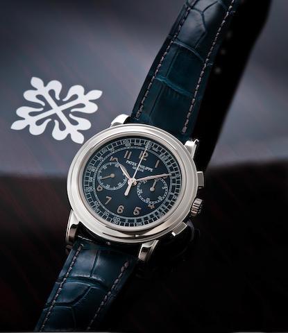 Patek Philippe. A very fine PT950 platinum manual wind chronograph wristwatch Ref. 5070P, Movement no. 3715355, Circa 2008