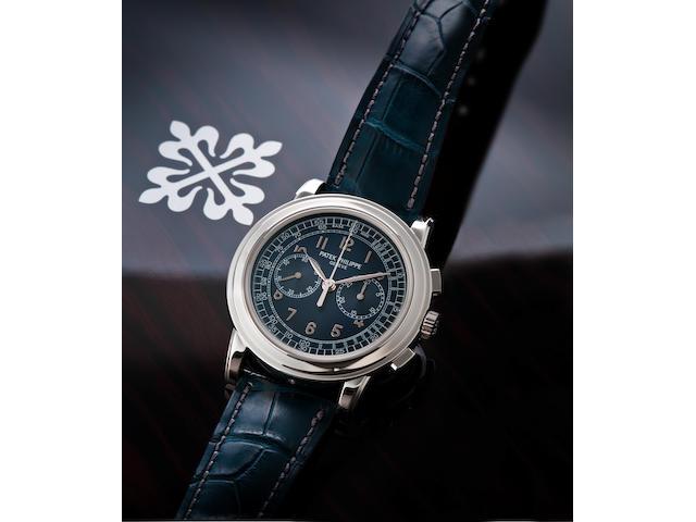 Patek Philippe. A very fine PT950 platinum manual wind chronograph wristwatchRef. 5070P, Movement no. 3715355, Circa 2008