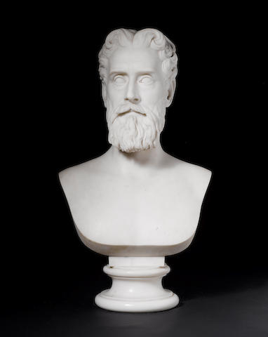 William Wetmore Story (American 1819-1895):A statuary marble bust of John Lothrop Motley,