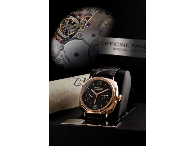 Officine Panerai. A very fine and very rare 18ct rose gold manual wind limited edition two time zone tourbillon wristwatchRadiomir Tourbillon GMT, Ref. PAM 330, Case no. BB 1384336, Limited edition no. 48/50, Circa 2009
