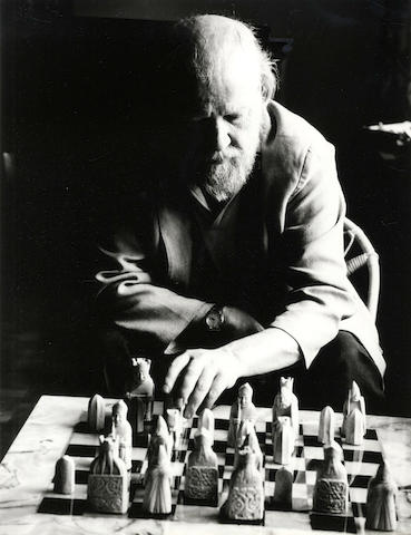 "GOLDING (WILLIAM), ROALD DAHL, WALTER DE LA MARE, and JOHN OSBORNE GERSON (MARK) Portaits of William Golding (playing chess), [1970]; Walter de la Mare, [1953]; Roald Dahl; John Osborne (with a backdrop of ""Look Back in Anger"" at the Royal Court Theatre"