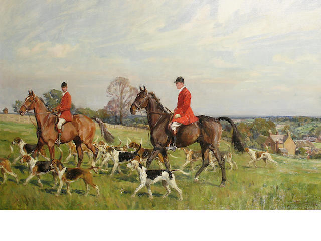 Lionel Dalhousie Robertson Edwards (British, 1878-1966) The South Staffordshire Hunt at Longdon Green, Lichfield
