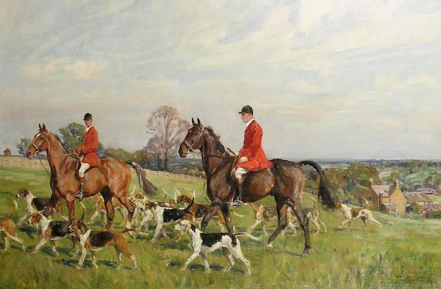Lionel Dalhousie Robertson Edwards (British, 1878-1966) The South Staffordshire Hunt at Longdon Green, Lichfield