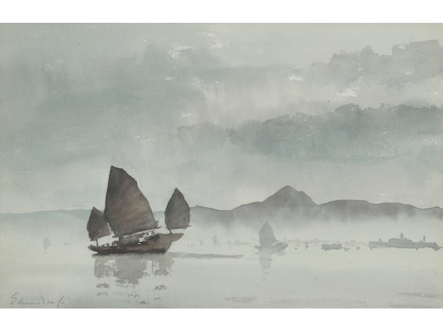Edward Seago R.W.S. (British, 1910-1974) Lifting Fog, Hong Kong 32.5 x 50 cm. (12 3/4 x 19 3/4 in.)