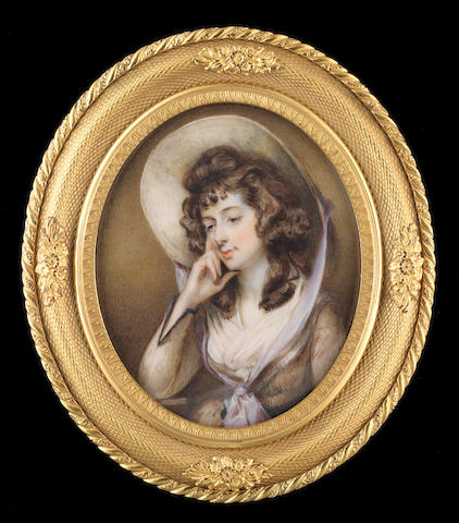 Horace Hone, ARA (Irish, circa 1756-1825) Sarah Siddons (1755–1831), wearing light brown dress with darker trimming at the cuff, dark brown sash, white fichu, wide brimmed hat with lavender ribbon tied in a knot just below her fichu, she props her face up against her right hand, her elbow resting on the table besides her