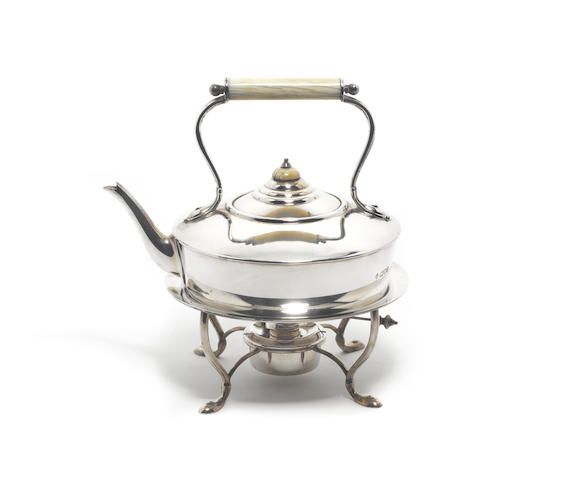 "ASPREY: An Edwardian  silver kettle on stand, by H. Wilkinson & Co. Ltd, London 1907, also incuse stamped ""Asprey London"","