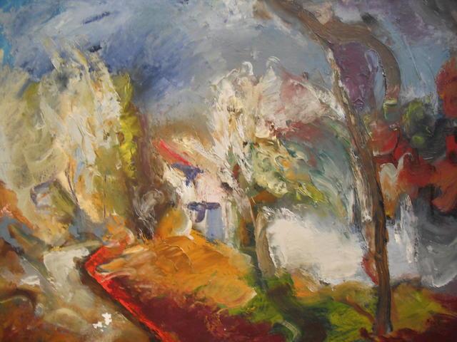 """Hamish Lawrie (British, 1919-1987) """"Cottages at night"""""""