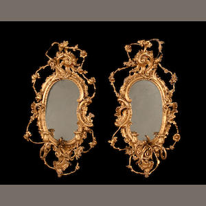 A pair of late Victorian giltwood and composition girandoles by E. W. Savory of Cirencester