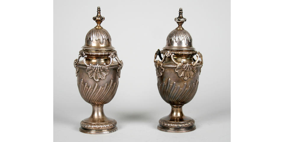 A George II pair of condiment vases  by Ayme Videau, London 1759