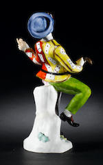 A very rare Meissen figure of Harlequin dancing circa 1740