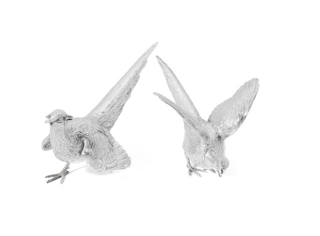 A pair of silver  table ornaments, modelled as pheasants, by E. Barnard, London 1976,