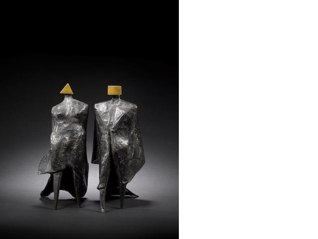 Lynn Chadwick (British, 1914-2003) Pair of Cloaked Figures IV 1978 28 cm. (11 in.) high