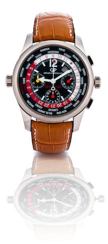 Girard Perregaux. A fine and rare 18ct white gold automatic chronograph limited edition with world time and calendar wristwatch Ferrari Girard Perregaux, ww.tc F2003-GA, Ref: 4980, Case no. 18/25, Circa 2004