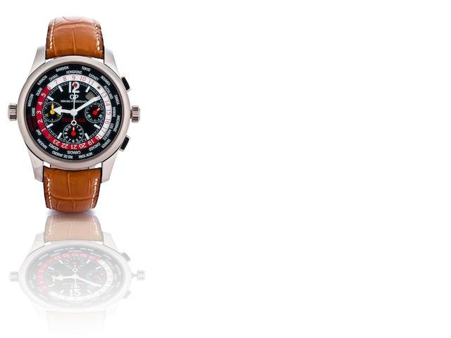 Girard Perregaux. A fine and rare 18ct white gold automatic chronograph limited edition with world time and calendar wristwatch Ferrari Girard Perregaux, ww.tc F2003-GA, Ref: 4980, Case no. 18/25, Circa 2004