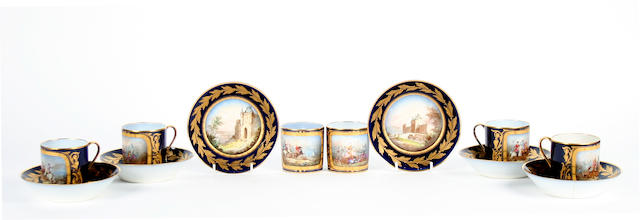 A collection of six Sevres coffee cans and saucers  Late 19th Century/Early 20th Century