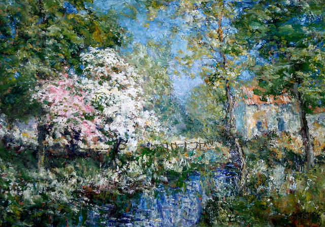 John Falconar Slater (British, 1857-1937) Woodland stream with blossom trees