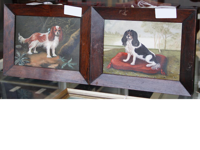 English School 20/21st century King Charles spaniel in a wooded landscape; King Charles spaniel on a cushion each 14 x 20cm (5 1/2 x 7 13/16in).(2)