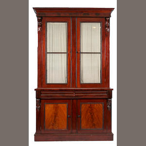 A Victorian mahogany and glazed bookcase cabinet