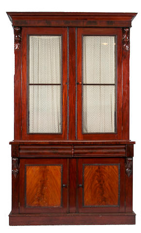 A Victorian mahogany and glazed bookcase cabinet