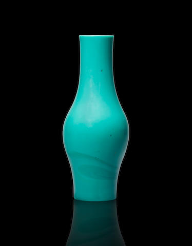 A turquoise-green glass vase Qianlong four-character wheel-cut mark and of the period