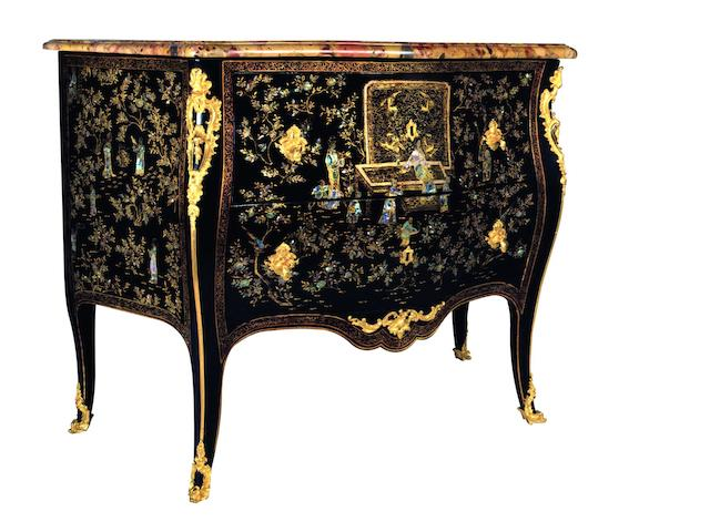 An important French mid-18th century Louis XV ormolu-mounted Chinese lacquer and mother of pearl commode By Matthieu Criaerd, Paris,